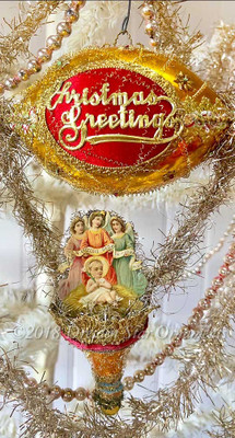"Baby Jesus with Angel Trio on Bright Gold ""Christmas Greetings"" Dirigible with Matching Bell"