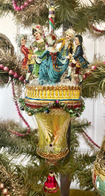 Dancing Children on Christmas Bell Ornament with Miniature Garland.