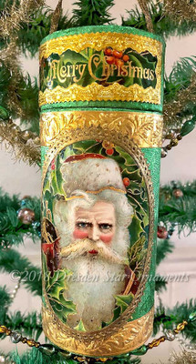 Luxurious Santa Holly Candy Container Ornament with Rare Gold Embossed Dresden Papers