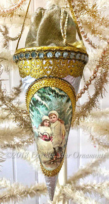 Deluxe Silver Candy Container Cone with Silk Fabric and Snow Children