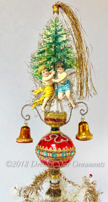 Reserved for Patricia– Angels Holding Christmas Tree on Soft Red Topper with Golden Bells