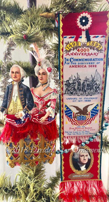 Reserved for Stacy – Patriotic Ribbon Banner and George & Martha Paper Basket