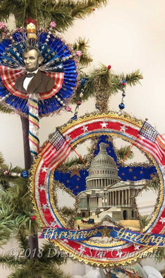 Reserved for Stacy – Commemorative Lincoln Cigar Flag and DC Capital Cotton Batting Circle-Star Ornaments
