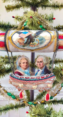 Reserved for Stacy – George and Martha Washington on Patriotic Cotton Dirigible