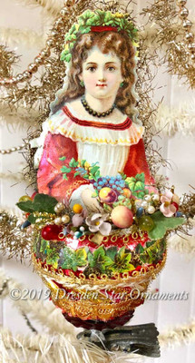 Reserved for Dennis – Festive Girl with Fruit and Flowers Glass Clip-On Ornament