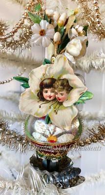 Reserved for Dennis –White Vase Glass Clip-On Ornament with Flower Children