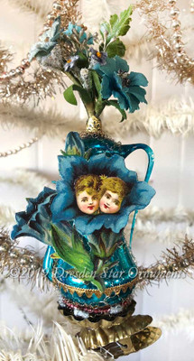Reserved for Dennis –Blue Vase Glass Clip-On Ornament with Children
