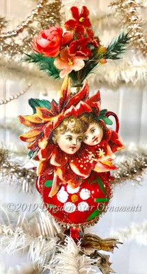 Reserved for Dennis –Red Vase Glass Clip-On Ornament with Children