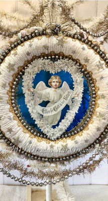 Reserved for Dennis –Christmas Angel with Heart on Ivory Chenille Wreath Rimmed with Flowers and Glittered Stars