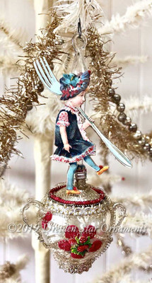 Reserved for Dennis - Spunky Girl with Fork Dancing on Glass Sugar Bowl Ornament