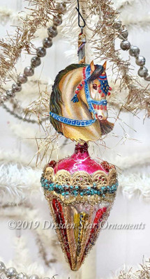 Parade Pony on Decorated Glass Cone Ornament