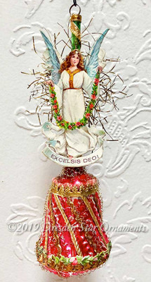 Christmas Angel on Candy-Striped Red Bumpy Glass Bell
