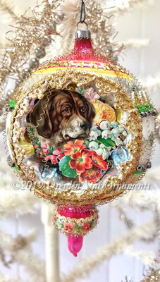 Two Dogs Framed in Large Double Sided Oval Indent Ornament with Spindle Bottom
