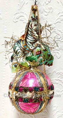 Prancing Zebra on Mid-Century Pink, Silver, and Gold Glass Sphere Ornament