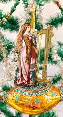 Irish Maiden with Harp on Golden St. Patrick's Day Ship