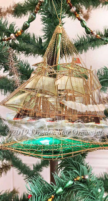 Magnificent Sailing Ship on Green Glass Boat