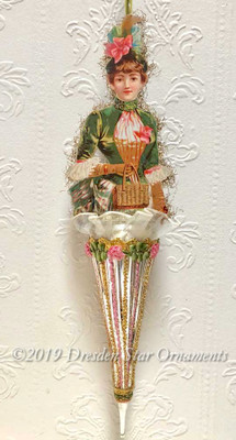Victorian Lady with Green Dress and Bonnet on Large Antique Parasol Ornament