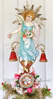Pastel Angel on Red Glass Spire Topper Wreathed in Spring Flowers