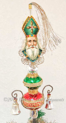 St. Nicholas on Green, Red, and Silver Topper with Silver Bells