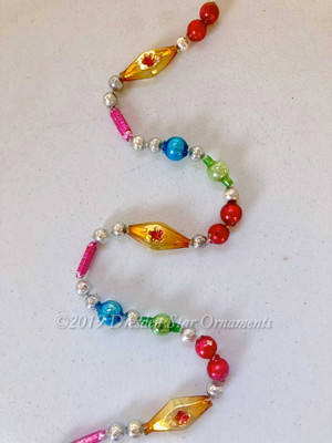 Vintage Multicolored Glass Bead Garland in Bright Primary Colors– 6 Foot Length