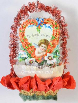 Vintage Valentine, antique valentine ornament, handmade ornament