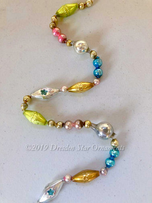 Fancy Vintage Multicolored Glass Bead Garland in Pastel Pink, Light Green, Blue, Silver, Gold – 6 Foot Length BM19003