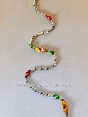 Vintage Multicolored Glass Bead Garland in Retro Red, Green, Gold, Silver – 9 Foot Length