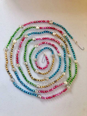 Vintage Multicolored Glass Bead Garland in Bright Pink, Blue, Green, Gold, Silver – 9 Foot Length