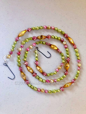 Fancy Vintage Multicolored Glass Bead Garland in Glowing Pink, Light Green, Gold, Light Gold – 3 Foot Length BM19007
