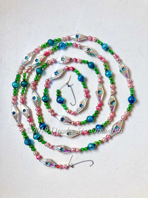 Gorgeous Vintage Multicolored Glass Bead Garland in Pretty Pink, Blue, Green, Silver – 6 Foot Length