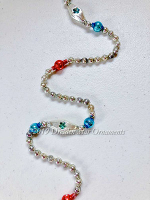 Vintage Patriotic Glass Bead Garland in Blue, Red, White, Silver– 9 Foot Length