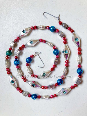 Fancy Vintage Patriotic Glass Bead Garland in Blue, Red, White, Silver– 3 Foot Length BP19006