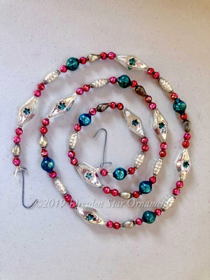 Fancy Vintage Patriotic Glass Bead Garland in Blue, Red, White, Silver– 3 Foot Length BP19005