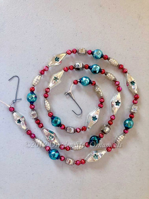 Deluxe Vintage Patriotic Glass Bead Garland in Blue, Red, White, Silver– 3 Foot Length BP19001