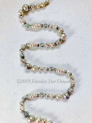 Fancy Vintage & Antique Silver Glass Bead Garland – 6 ft length