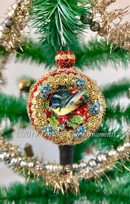 Adorable Glittered Red Ornament with Bird and Embroidered Blue Forget-Me-Nots