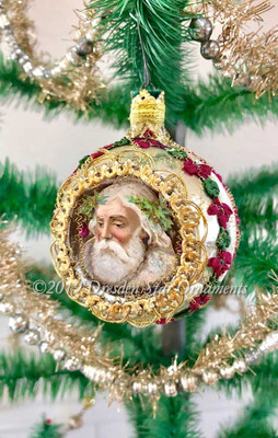 Gorgeous Sparkly Santa on Large Silver Indent Ornament accented in Wine-Red and Green Ribbonwork