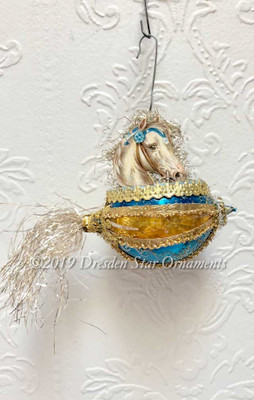 Beautiful White Horse in Blue and Gold Silver Basket Ornament with Tinsel Tail