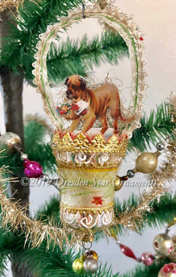 Boxer Dog with Flower Basket in Hand-Painted Glass Bell Ornament with Lace Handle
