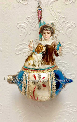 Victorian Boy with Dog Diorama in Large Blue Glass Ornament detailed in Lace