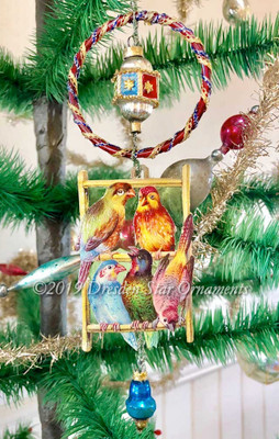 """Playful Birds on Perch with Amazing Antique Glass Ring, Bead and Bell """"Toys"""""""