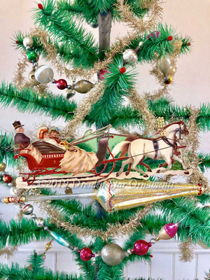 Exquisite Horse-Drawn Christmas Sleigh on Large Victorian Parasol Ornament