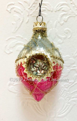 Two Kitties in Dainty Two Sided Oval Blue and Magenta Indent Ornament