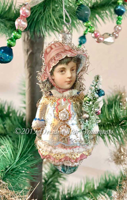 Figural Glass Winter Girl Ornament With Adorable Scrap Head and Tiny Tree Sprig