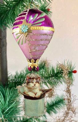 Cat in Top Hat Riding Purple Hot Air Balloon Accented with Silver, Gold and Green