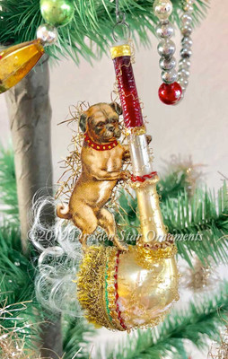 Cute Little Dog with Curly Tail Balancing on Imaginative Smoking Glass Pipe Ornament
