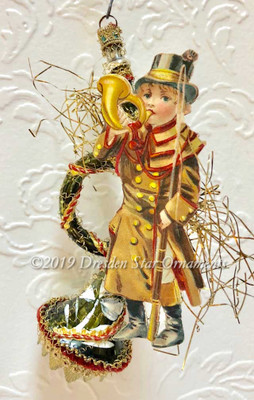 Victorian Boy Blowing Horn on Fancy Green French Horn Instrument Accented with Red, Green and Gold