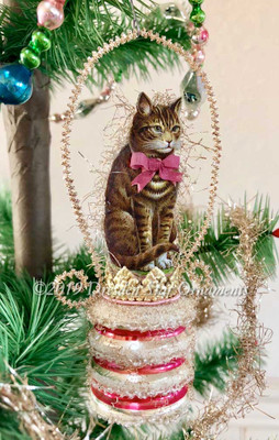 Realistic Cat Sitting on Mid-Century Glass Pink and Silver Barrel Ornament