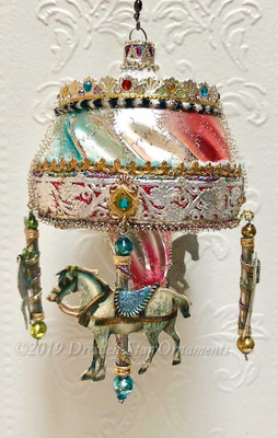 Reserved for Gabrielle - Beautiful Dainty Rainbow Carousel Accented in Silver with Horse, Lepoard, Zebra, and Reindeer