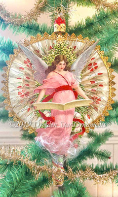 "Glorious 8"" Christmas Angel on Rare Fabric Asian Cigar Fan Ornament or Topper"